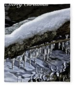 Snow And Icicles Merry Christmas Card Fleece Blanket
