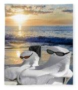 Snow Bird Vacation Fleece Blanket