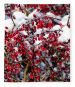 Snow Capped Berries Fleece Blanket