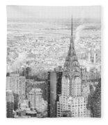 Snow - Chrysler Building And New York City Skyline Fleece Blanket