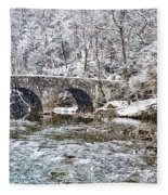 Snow Coming Down On The Wissahickon Creek Fleece Blanket
