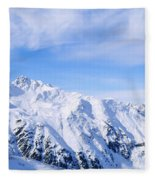 Snow Covered Alps, Schonjoch, Tirol Fleece Blanket