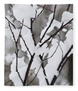 Snow Covered Branches Fleece Blanket