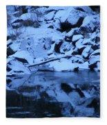 Snow Covered River Rocks Fleece Blanket