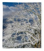 Snow Covered Tree And Winter Scene Fleece Blanket