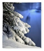 Snow Covered Tree Branches Fleece Blanket