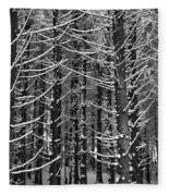 Snow Covered Trees Fleece Blanket