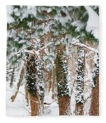 Snow Covered Trees Fleece Blanket