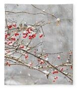 Snow Covered Winter Berries Fleece Blanket