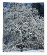 Snow Covered Winter Fleece Blanket