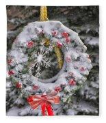 Snow Covered Wreath Fleece Blanket