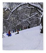 Snow Day In The Park Fleece Blanket