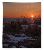 Snow Dune Sunset Seaside Park Nj Fleece Blanket