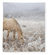Snow Falling On Horses Fleece Blanket