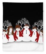 Snow Family 2 Square Fleece Blanket