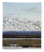 Snow Geese Taking Off At  Loess Bluffs National Wildlife Refuge Fleece Blanket