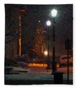 Snow In Downtown Grants Pass - 5th Street Fleece Blanket