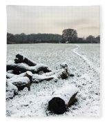 Snow In Surrey England Fleece Blanket