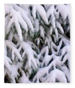 Snow Laden Branches Fleece Blanket
