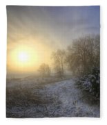 Snow Landscape Sunrise Fleece Blanket
