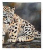 Snow Leopard Cub Fleece Blanket