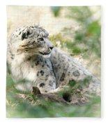Snow Leopard Pose Fleece Blanket