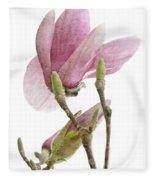 Snow Magnolia Painterly 1 Fleece Blanket