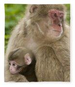 Snow Monkeys, Mother With Her Baby Fleece Blanket