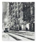 Snow - New York City - Winter Night Fleece Blanket