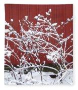Snow On Burdock Burr Weed Against Red Barn Siding Fleece Blanket