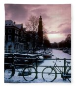 Snow On Canals. Amsterdam, Holland Fleece Blanket