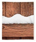 Snow On Fence Fleece Blanket