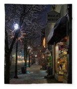 Snow On G Street 3 - Old Town Grants Pass Fleece Blanket