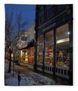 Snow On G Street - Old Town Grants Pass Fleece Blanket