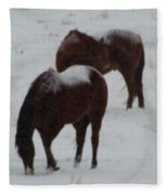 Snow On Horses Fleece Blanket