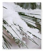 Snow On Pine Needles Fleece Blanket