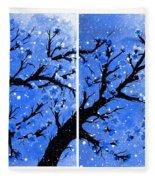 Snow On The Blue Cherry Blossom Tree Fleece Blanket