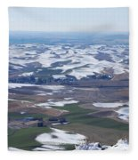 Snow Remnants On The Palouse Fleece Blanket