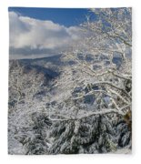 Snow Scene At Berry Summit Fleece Blanket