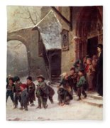 Snow Scene  Children Leaving School Fleece Blanket