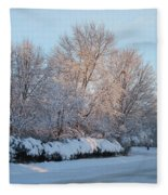 Snow Trees Sunrise 2-2-15 Fleece Blanket