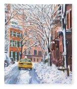 Snow West Village New York City Fleece Blanket