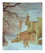 Snowballing At Tiddlington Fleece Blanket