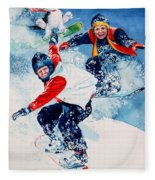 Snowboard Super Heroes Fleece Blanket
