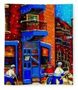 Snowday Hockey Practice Wilenskys Corner Fairmount And Clark Montreal City Scene Carole Spandau Fleece Blanket