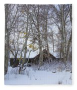 Snowed Cabin Fleece Blanket