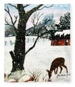 Snowfall And Visiting Doe Fleece Blanket