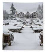 Snowfall At Longview Mansion Fleece Blanket