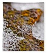 Snowflake On Rust Fleece Blanket