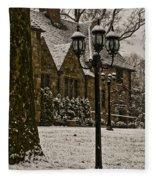 Snowing At Stokesay Castle Fleece Blanket